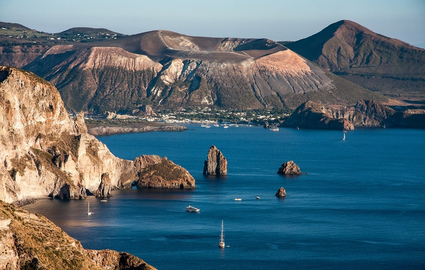 beautiful view on Vulcano island from Lipari island, Italy